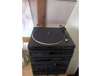 sony separates turntable (PS-LX43P) amp radio graphics cd player tape deck and speakers