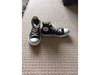 Children's black converse boots size 12 excellent condition