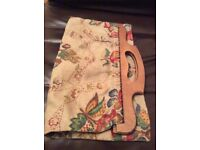 Vintage craft/knitting bag with wooden handles. Fully lined with an inside pocket.