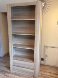 Bookcase/shelving unit with 2 drawers - brand new - white washed oak effect