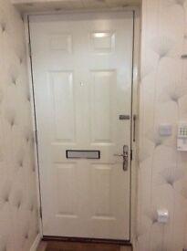 Door with chrome furniture