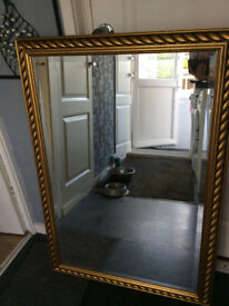 2 LARGE MIRRORS...GOLD MIRROR 41inch X 28inch.....SILVER 34inch X 24inch