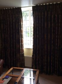 Curtains brown / floral