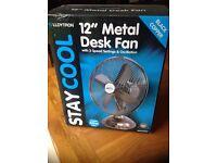 Metal 12 inch desk fan by Lloytron**Brand new