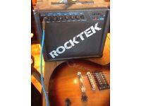 Epiphone guitar, Rocktek amp and guitar lead