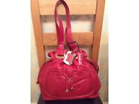 Soft Red Leather Drawstring Bag with Dust Bag NEW