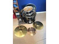 Full CB-5 Drum Kit in Black with Zildjian Hi-Hat - Not Set Up