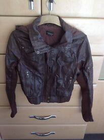 Faux Leatherf Briwn Top Shop Jacket