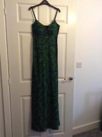 Debut green & black maxi dress size 10