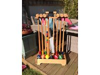 Large croquet set on wheels ( on hold until Sunday afternoon )