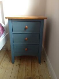 Blue painted pine bedside chest of drawers and matching headboard
