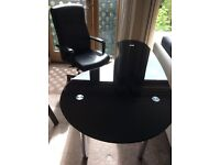 Oval glass office desk + CEO leather Chair
