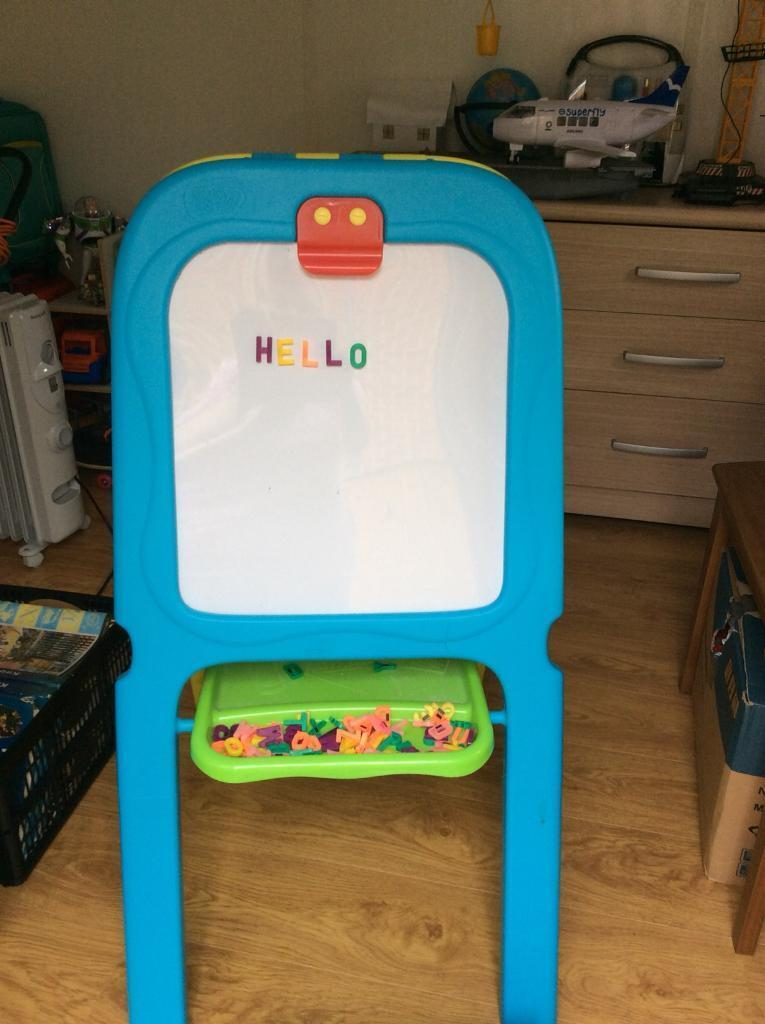 Children's Blackboard and Whiteboard, 2 in 1 Easel