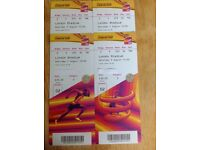 4 Tickets For The IAAF (Athletics) World Championships On Saturday 5 August