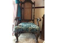Beautiful antique solid oak throne chair
