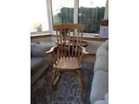Large solid pine wood rocking chair excellent condition
