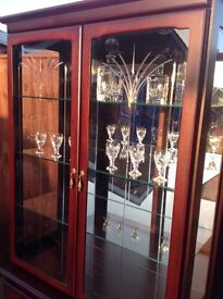 Shabby chic project? Lovely High Quality Mahogany effect cut and bevelled glass mirrored unit
