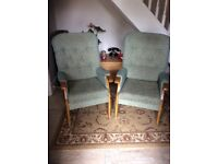 Matching pair of upright armchairs