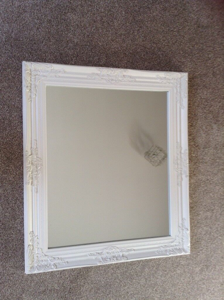 7755b1ac8950 White French vintage style wooden mirror. Blairgowrie