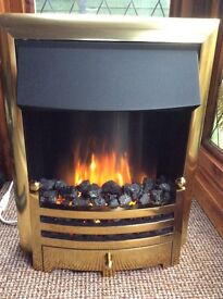 Brass effect remote control fire, with flame effect