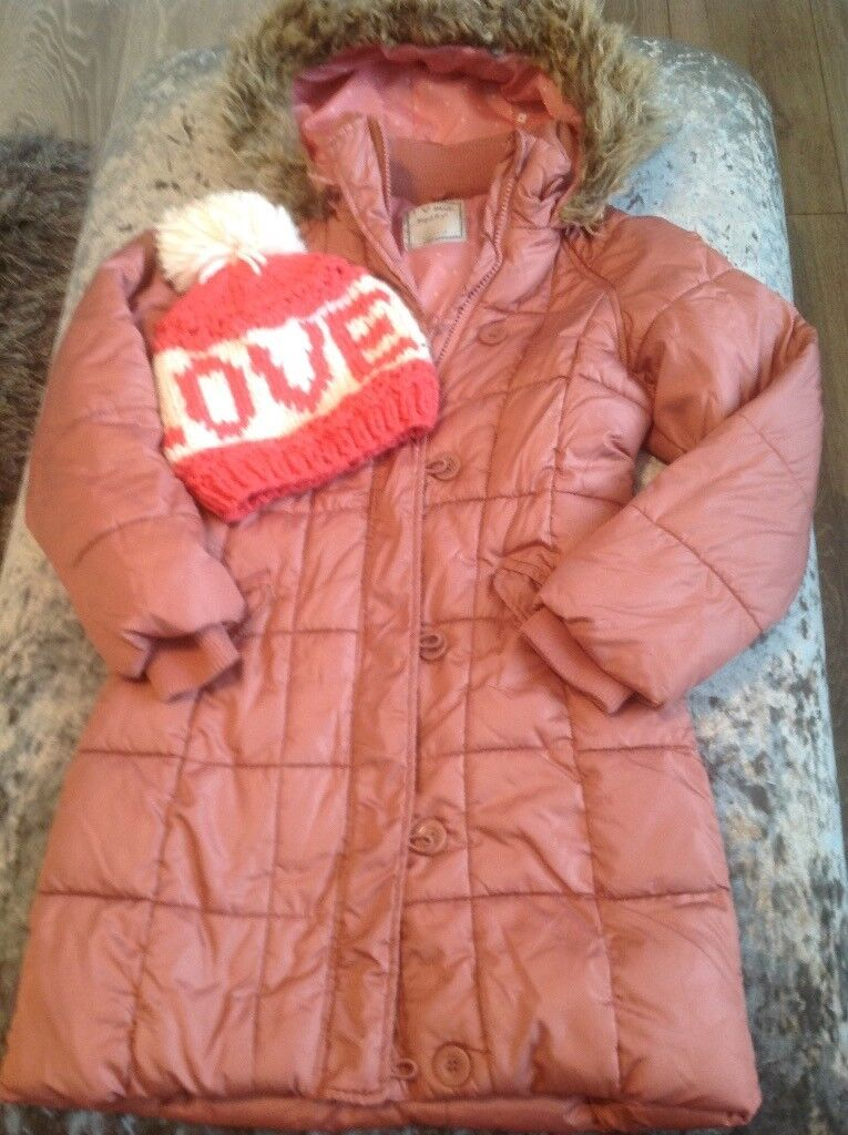 Girls next coat/jacket age 7/8 and river island bobble hat