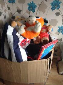 Box of toys books etc