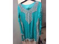 Asian lengha dress, light blue