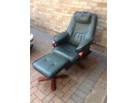 Green leather chair & footstool