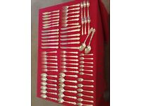 Classic style 64 piece silver plated cutlery set.