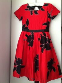 Girls Next red & black floral dress age10 - in good condition - £4