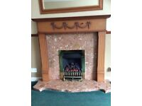 Gas fire and wood surround