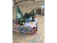 Irregular choice green high heels size 5