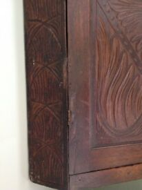 Carved wooden corner cabinet, wall hanging