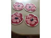 Red floral table mats Laura Ashley x4 as new