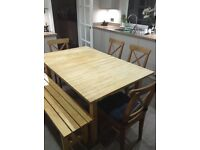 Oak Veneer Extending Table with Bench and 4 Chairs