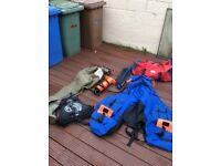 Float tube,bauyancy aid,pump,waders and bag