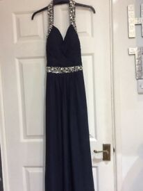 Navy evening gown. Worn once. Lovely halter neck style