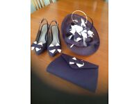 Jacques Vert matching fascinator,handbag and shoes