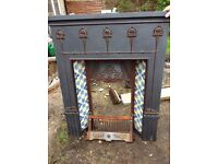 Victorian Style Fireplace with Tiles, front Grate and base. Good condition.