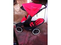 Phil ted navigator double buggy pushchair stroller pram , red and black