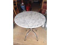 White/Gray Marble Table, Chrome Legs