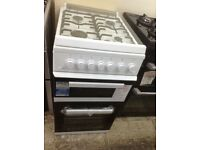 Beko 50cm gas cooker with glass lid. White. £249. New/graded 12 month Gtee