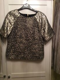 Miss Selfridge black and gold evening/party top. Size 10.only worn once