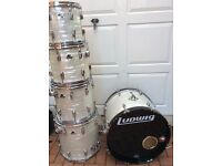 1980s Ludwig rockers in white marine pearl complete with mounts and cases
