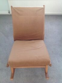 Rocking chair wood frame and cushion