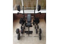 As New Weights Bench, 155kg free Weights, Barbells and Dumbbells.