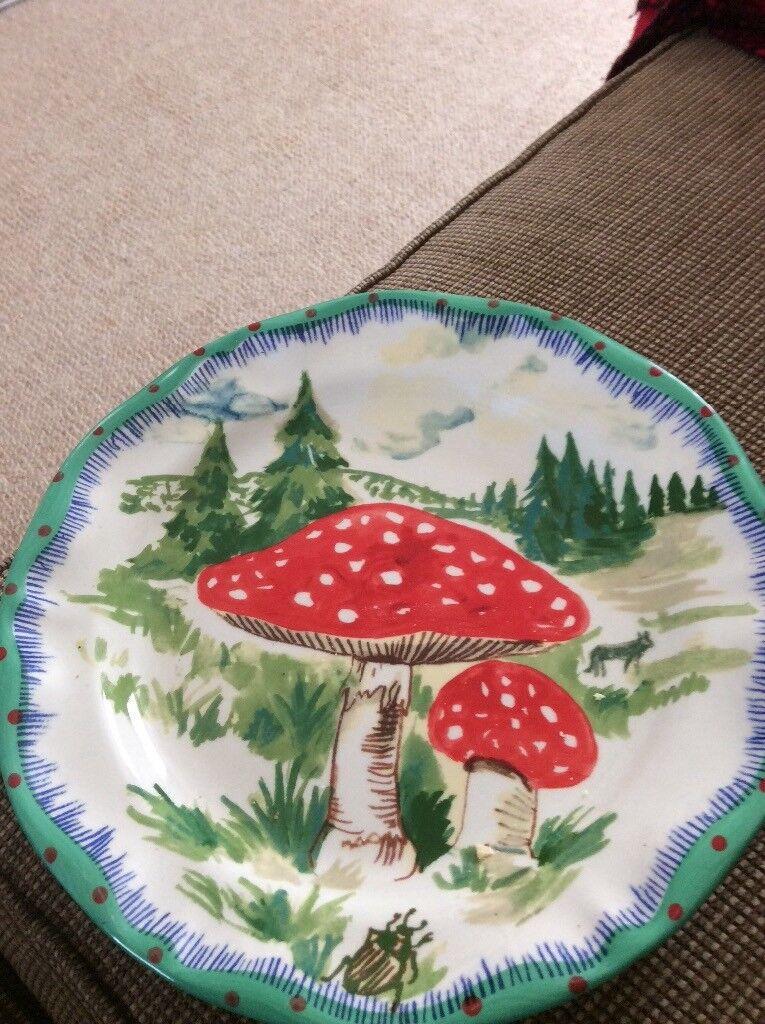 Hand painted mushroom plate