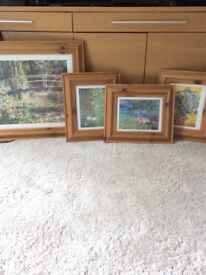 4 pine picture frames with prints.