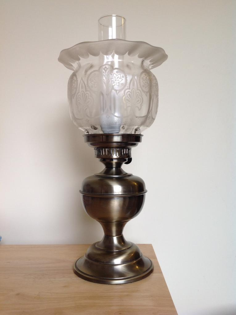 Lamp Antique Bronze Electric Oil Lamp Chimney And Genuine Period Etched Glass Shade In