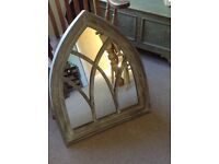 """Lovely gothic grey wash mirror. Height approx 32"""", width 26"""". As new. Unused present."""